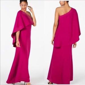 NWT Vince Camuto magenta one shoulder cape gown